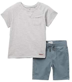Hudson Slub Jersey Tee & Pull-On Shorts Set (Toddler Boys)