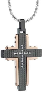 Lynx LYNXMen's Cubic Zirconia Tri-Tone Stainless Steel Cross Pendant
