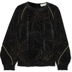 Chloé Smocked Printed Velvet Sweatshirt - Black