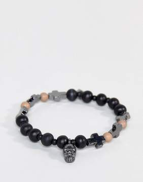 ICON BRAND Skull & Cross Bracelet In Black