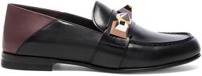 Fendi Stud Leather Loafers