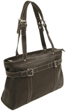 Women's Piel Leather Belted Computer Tote 2760