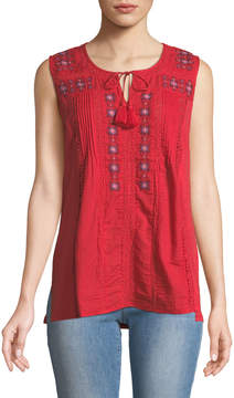 Chelsea & Theodore Embroidered Scoop-Neck Peasant Tank