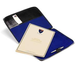 Aspinal of London Executive A4 Zipped Padfolio In Smooth Black Cobalt Suede
