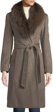 Ellen Tracy Fox-Fur Collar Slick Wool Wrap Coat