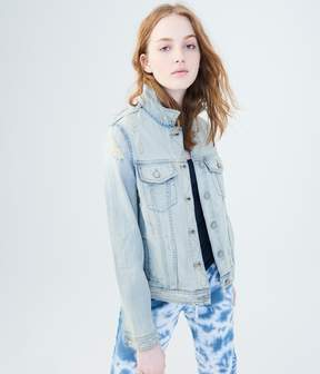 Aeropostale Super Destroyed Light Wash Denim Jacket