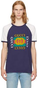 Gucci Navy Raglan Modern Future Logo T-Shirt
