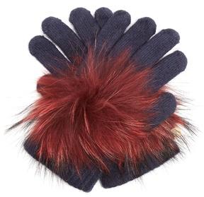 Yves Salomon Fur-trimmed knit gloves