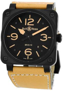 Bell & Ross BR03-92 Heritage Black Carbon Finish Stainless Steel Strap Watch