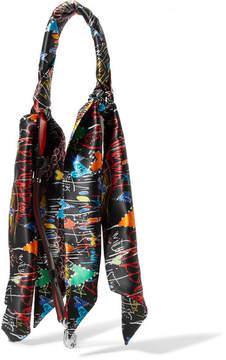 Christian Louboutin Printed Silk-satin And Leather Bag Strap - Black