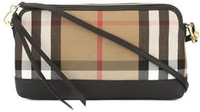 Burberry Black Leather and House Check Abingdon Clutch Bag - ONE COLOR - STYLE