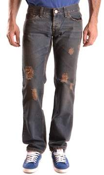 Richmond Men's Blue/brown Cotton Jeans.