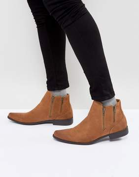 Asos Chelsea Boots With Zip Detail In Tan Faux Suede