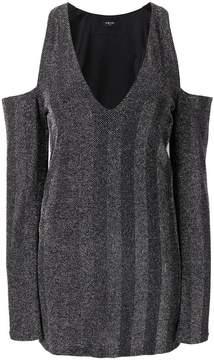 Amiri cold-shoulder herringbone mini dress