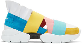 Emilio Pucci Blue and Yellow Colorblock Miami Ruffle Slip-On Sneakers