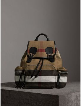 Burberry The Medium Rucksack in Canvas Check and Leather