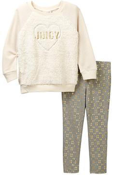 Juicy Couture Plush Heart Tunic & Metallic Rose Gold Printed Leggings Set (Toddler Girls)