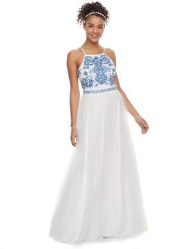 Speechless Juniors' Embroidered Halter Prom Dress