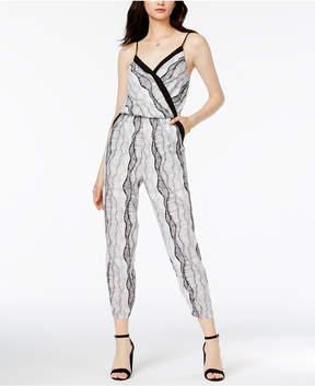 Bar III Printed Surplice Jumpsuit, Created for Macy's