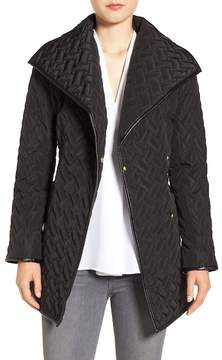 Cole Haan Water Resistant Quilted Wrap Coat