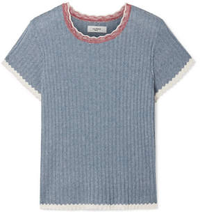 Etoile Isabel Marant Amberly Ribbed Cotton Top - Blue