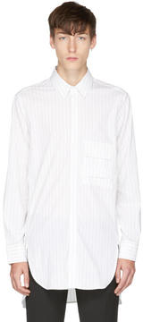 Neil Barrett White and Black Oversized Pinstripe Shirt