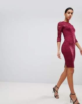 AX Paris 3/4 Sleeve Lace Midi Dress