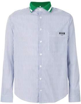 MSGM contrast collar pinstripe shirt
