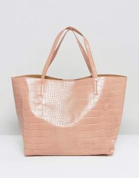 Glamorous Moc Croc Tote Bag in Blush