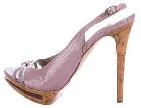 Le Silla Snakeskin Slingback Platform Sandals