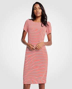 Ann Taylor Striped Puff Sleeve Ponte Sheath Dress