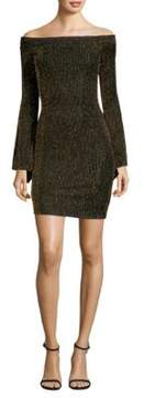BCBGMAXAZRIA Metallic Stripe Off-the-Shoulder Mini Dress