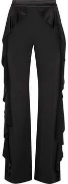 Alice + Olivia Alice Olivia - Wallace Satin Ruffled-trimmed Crepe Wide-leg Pants - Black