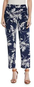 Escada Tullula Tropical-Print Straight-Leg Silk Pants