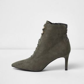 River Island Womens Grey pointed lace-up kitten heel ankle boots