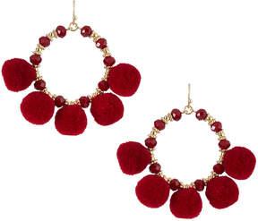 Fragments for Neiman Marcus Pompom Fringe Hoop Earrings, Red