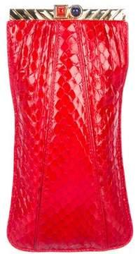 Judith Leiber Embellished Snakeskin Flip-Lock Pouch