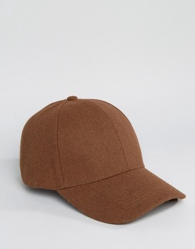 New Look Wool Mix Baseball Cap In Rust