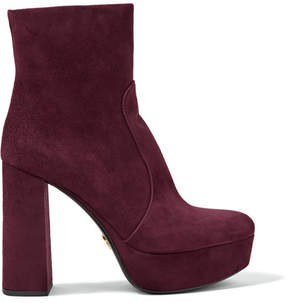 Prada Suede Platform Boots - Burgundy