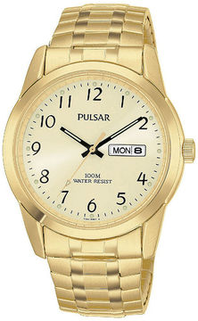Pulsar Mens Gold-Tone Expansion Watch PJ6054