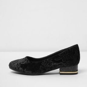 River Island Girls black baroque embossed velvet shoes