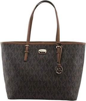 Michael Kors Jet Set Travel Large Brown Luggage Pvc Signature Carryall Tote - ONE COLOR - STYLE