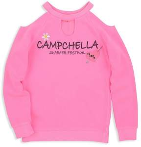 Butter Shoes Girls' Cold-Shoulder Fleece Campchella Sweatshirt - Big Kid