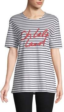Each X Other Women's Striped Cotton Graphic Tee