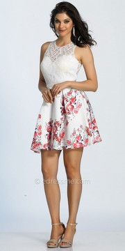 Dave and Johnny Sweetheart Floral Fit and Flare Cocktail Dress
