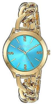 August Steiner Blue Dial Ladies Gold Tone Bracelet Watch