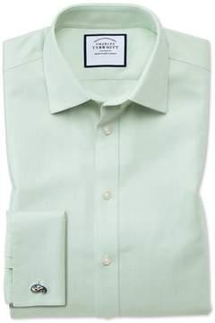 Charles Tyrwhitt Slim Fit Non-Iron Step Weave Green Cotton Dress Shirt Single Cuff Size 15/33
