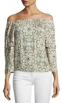 Ella Moss Minori Mosaic Off-the-Shoulder Top, Neutral Pattern