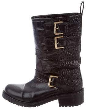 DSQUARED2 Embossed Leather Mid-Calf Boots