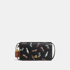 COACH DINKY IN GLOVETANNED LEATHER WITH CAR PRINT - BRASS/BLACK